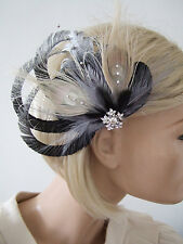 "Black Silver Beige Fascinator with Bleached Peacock Feathers on Clip ""Arlene"""