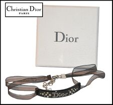 FRENCH VINTAGE AUTH DIOR STUDED BLACK RESIN AND RIBBON NECKLACE WITH BOX