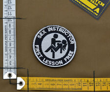 "Ricamata / Embroidered Patch ""Sex Instructor"" with VELCRO® brand hook"