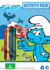 The SMURFS: ACTIVITY PACK 2-DVD+BONUS+CRAYONS+COLORING/ACTIVITY PAD BRAND NEW R4