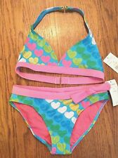NWT Girl Pink & Aqua 2 Pc Halter Pageant Swimsuit Bikini Hearts w/ Bling SZ 12