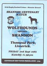 SHANNON v WOLFHOUNDS 2 Sep 1983 RUGBY PROG at LIMERICK SHANNON CENTENARY MATCH