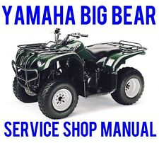 2001-02 Yamaha Big Bear YFM400 4x4 Service Repair Shop Manual Bonus YFM350 ON CD