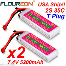 2x 7.4V 5200mAh 35C 2S Lipo RC Battery T Plug For RC Helicopter Car Truck Hobby
