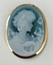 Signed NEW Italy 750/18K Gold Green Agate Hard stone Cameo  Pendant Brooch Pin
