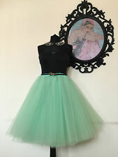 "Green Tulle skirt 24"" Long Party Wedding Knee vintage pin up party 50s Festival"