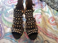 zara black white studded Sandals Heels Shoes Blogger Rare 5