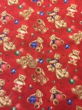 Teddy Bear Christmas Gifts Red 100% Cotton Quilt Craft fabric By 1/2 Mtr