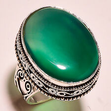 """GREEN CHALCEDONY .925 STERLING SILVER VITAGE STYLE RING 8.4"""""""