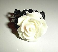 White Rose Flower - Vintage Style - Black Filligree Steam Punk Ring - Beautiful