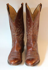 PANHANDLE SLIM by Sanders Brown Leather Western Cowboy Boots Cats Paw Size 9 D