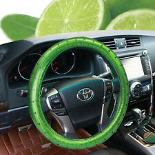 Car Truck Leather Steering Wheel Cover Breathable Bling Green 38cm O