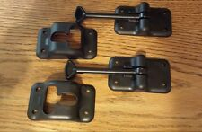 "2 - RV Camper Trailer 4"" Black Cargo Entry Door Catch Holder Hook Latch  T Style"