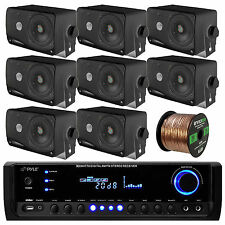 "8 Marine 3.5"" Box Speakers, PT390BTU Bluetooth USB Radio, 100FT Speaker Wiring"