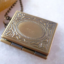 Elegant Vintage Brass Book Picture Photo Locket Charm Pendant Necklace