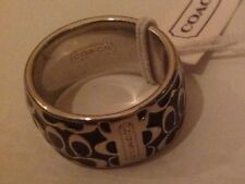 Authentic Coach Miranda Enamel Ring - Black Size 6 (retail $68)