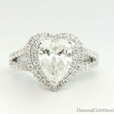 Certified Heart 2.46Ct G-VS1 Diamond 18K White Gold Engagement Ring 10.1Grams
