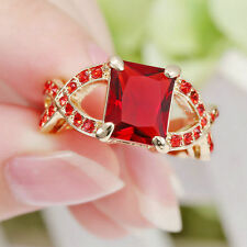Red Ruby Garnet  A2 Wedding Ring 10Kt Yellow Gold Filled Jewelry Size 7