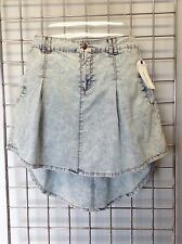 ADAM LEVINE Acid Washed High Low Short Cotton Denim Jean Skirt NEW