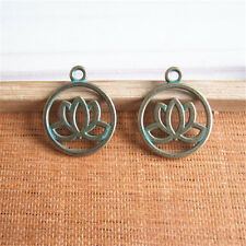 New 20 pcs Antique Bronze Patina Water Lily Lotus Flower Charms Pendants 20*20mm