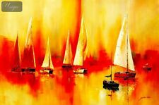 "SAILING BOATS ON LAKE GARDA  48X72 "" OIL PAINTING"