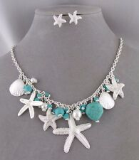 Silver Ocean Necklace Set Turquoise Pearl Starfish Shell Fashion Jewelry NEW