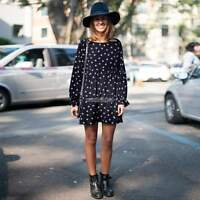 Ladies Polka Dot Chiffon Skater Women Long Sleeve Mini Dress Crew Neck S/M/L/XL