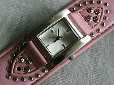 Identity London Ladies Casual Style Quartz Watch GWO New Battery Pink Cuff Strap