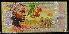 Equatorial Territories Polymer Plastic Banknote 100 Francs 2015 UNC, KENYA