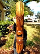 "NEW 40"" CUSTOM DESIGN NATURAL CARVED WOOD TIKI MASK WALL DECOR!!!"