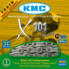 "KMC X101 Silver 1/2"" x 1/8"" 112L Single-Speed Bicycle Chain Track Fixed Gear BMX"