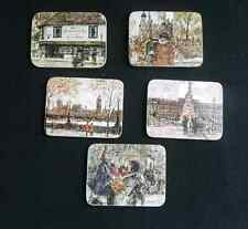 Set Of 5 Vintage CORK COASTERS With English Scenes From Painter A.Jawdokimov