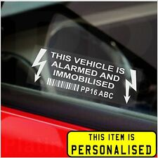 Car,Van,Taxi Cab,Truck Alarm Immobiliser Security Stickers-Printed Registration