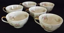 Theodore Haviland Limoges France 6 Cups Pin Roses Purple Flowers Gold Handles
