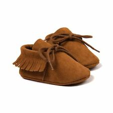0-6M Kids Toddler Tassel Leather Moccasin Baby Boys Girls Soft Sole Crib Shoes