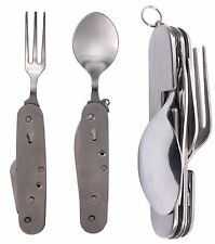Rothco Stainless Steel Folding Chow Set Camping Fork, Spoon, Bottle & Can Opener