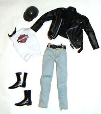 Barbie Ken Ensemble Black Faux Leather Jacket/Jeans For Ken Doll hd004