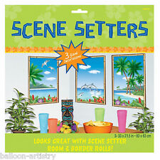 Tropical Luau Hawaiian Hut Beach Scene Setter complemento Windows Fiesta Decoración