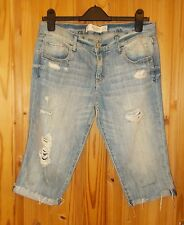 ABERCROMBIE&FITCH blue denim frayed ripped faded cutoffs shorts jeans 6 UK10 38