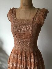 VTG Victorian Edwardian Embroidery lace Silk Dress Gown Sz XS S Boho