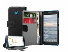 Wallet BLACK Leather Flip Case Cover Pouch For Microsoft Lumia 640 (Dual SIM)