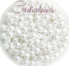 Lot de 100 Perles ronde nacré acrylique blanc 6 mm
