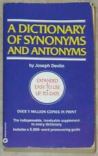 DICTIONARY OF SYNONYMS AND ANTONYMS ~ JOSEPH DEVLIN ~ PB