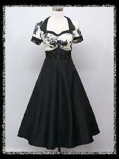 dress190 Black & White Floral Cap Sleeve 50s Rockabilly Party Cocktail Dress 12