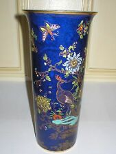 W & R CARLTON WARE ORIENTAL PEACOCK 10in CYLINDER VASE BLUE LUSTRE