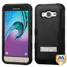 FOR SAMSUNG Galaxy J3 / J320 PHONE BLACK TUFF STAND SKIN ACCESSORY COVER CASE