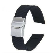 22mm/20mm Black Silicone Rubber Waterproof Watch Strap Band Deployment Buckle