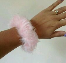 90s 80s SMALL BABY PINK FUN FUR FLUFFY HAIR SCRUNCHIE HAIRTIE PONYTAIL VTG