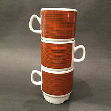 3 Vintage Egersund Norway Rare Korulen Brown Mugs Coffee Cups Stacking Retro
