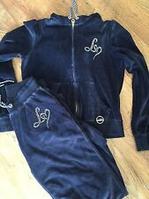Lipsy Blue Velour tracksuit Size 10 trousers (12 top for room)